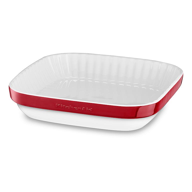 Keramická zapekacia miska štvorcová KitchenAid kráľovská červená 24 cm