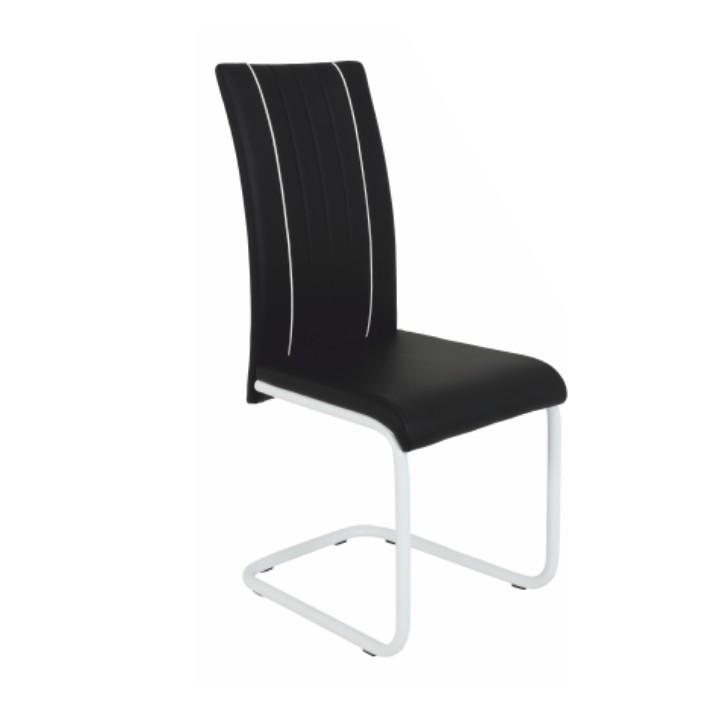 Stolička, čierna/biela + chrom, LESANA$