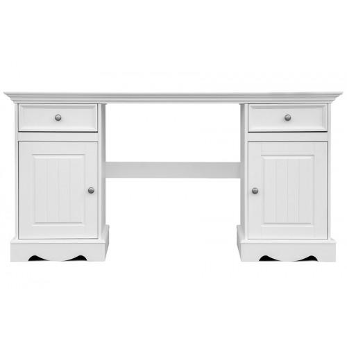 Biely nábytok Písací stôl Belluno Elegante, biely, masív, borovica