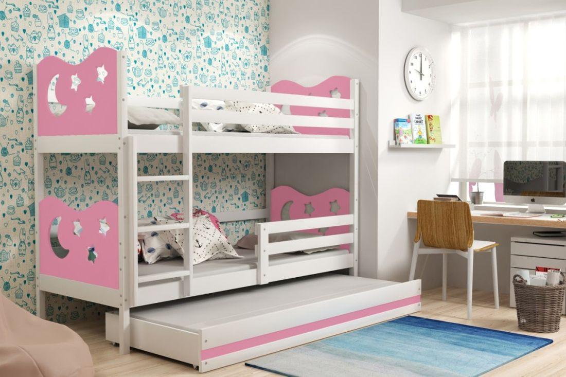 Poschodová posteľ KAMIL 3 + matrac + rošt ZADARMO, 90x200, biela/ružová