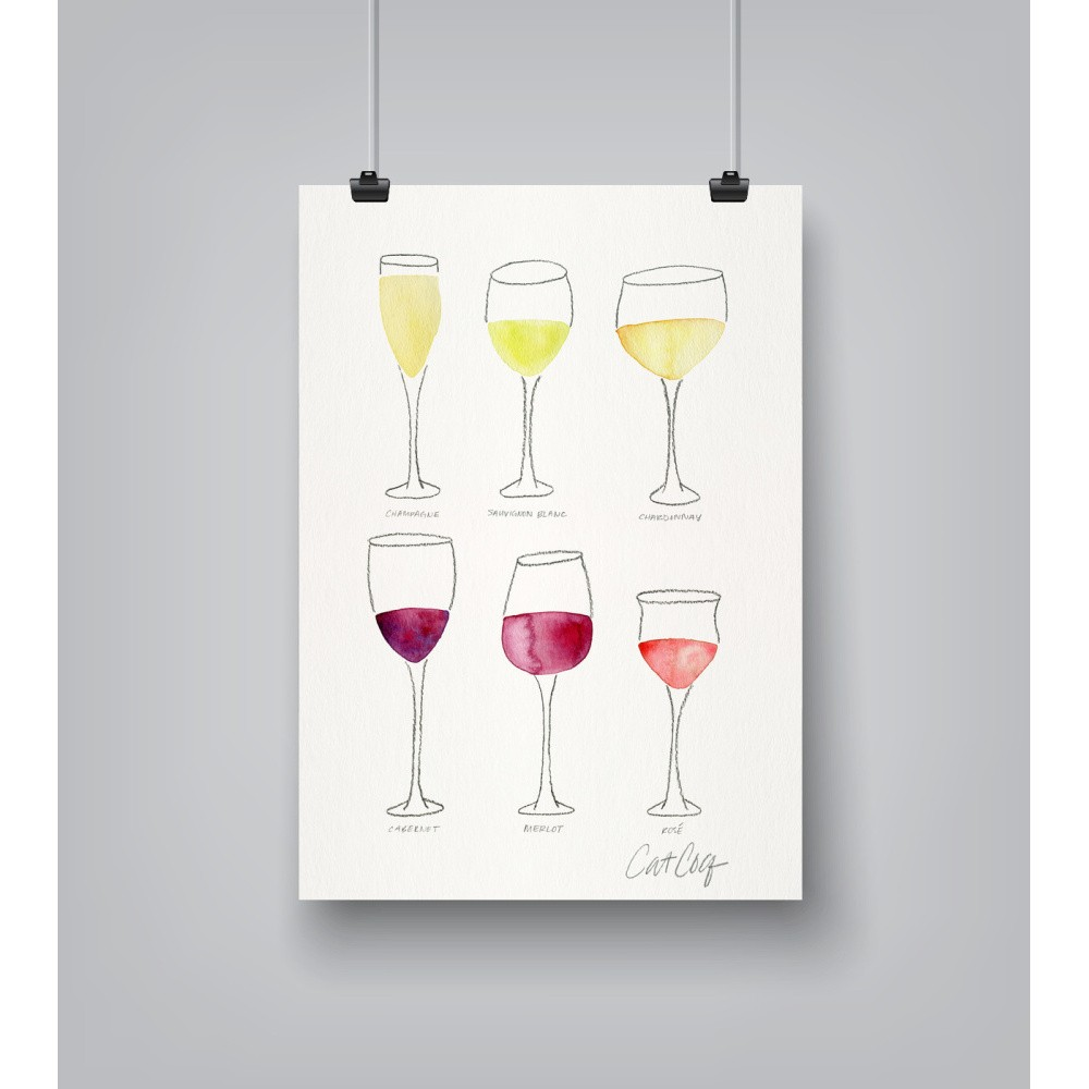 Plagát Americanflat Wine Glass Collection, 30 x 42 cm