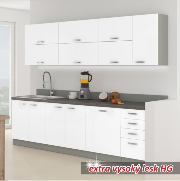 TEMPO KONDELA PRADO 260 kuchyňa - biely vysoký lesk