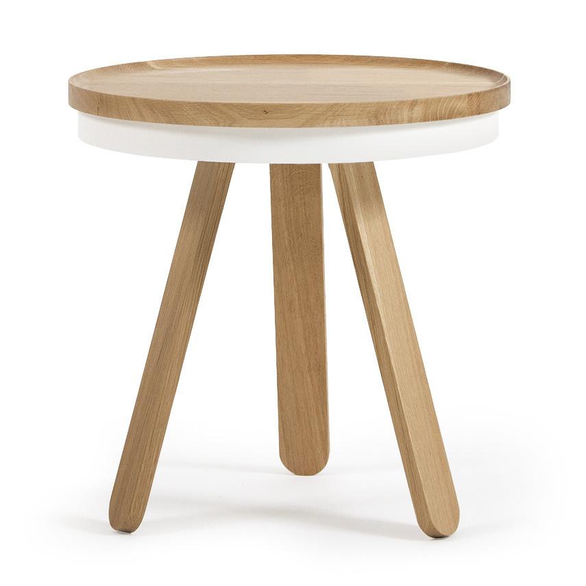 Prírodno-biely odkladací stolík s podnosom Woodendot Batea S