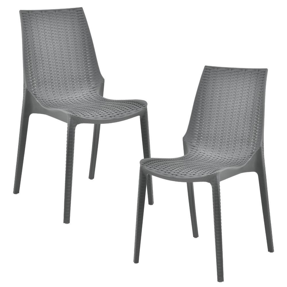 [casa.pro]® Sada záhradných stoličiek - 2 ks - 89 x 44 x 55,5 cm - tmavo sivé