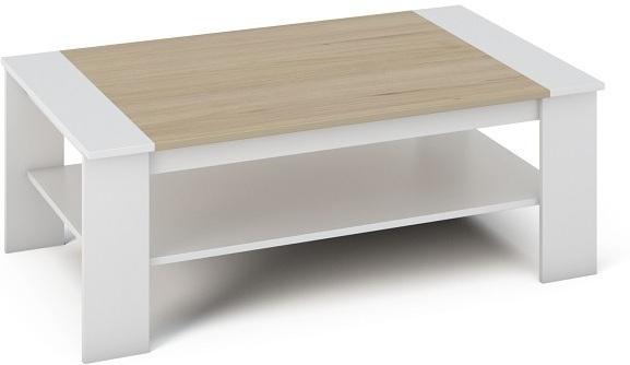 Konferenčný stolík, DTD laminovaná/ABS hrany, Biela/dub sonoma, BAKER