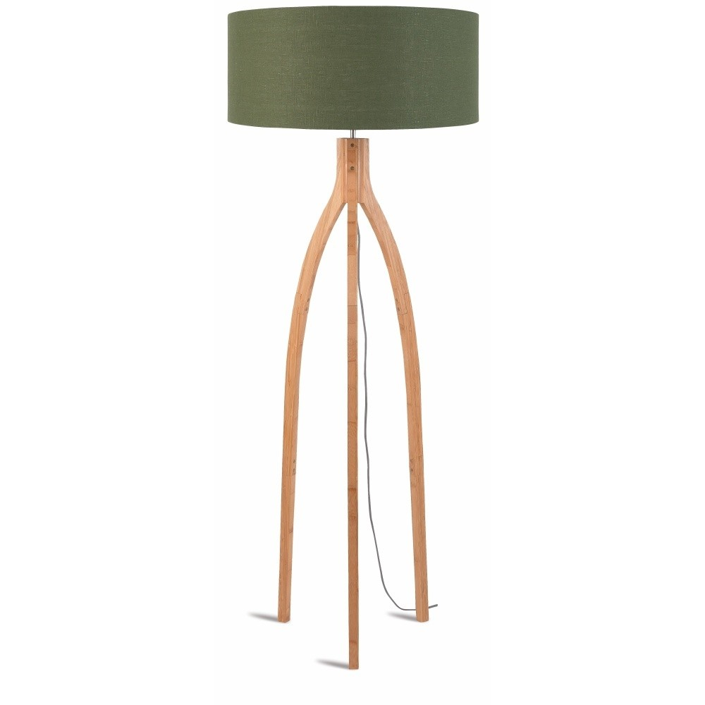 Stojacia lampa so zeleným tienidlom a konštrukciou z bambusu Good&Mojo Annapurna