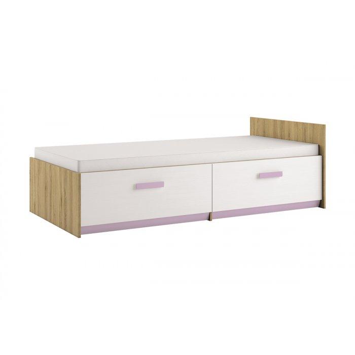 ML MEBLE BEST 17 90 posteľ - dub divoký / biela linea / levandulová