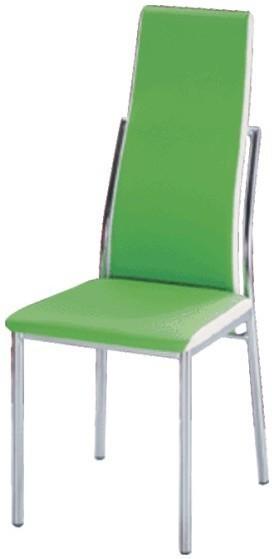 Jedálenská stolička, chróm/ekokoža zelená/biela, ZORA