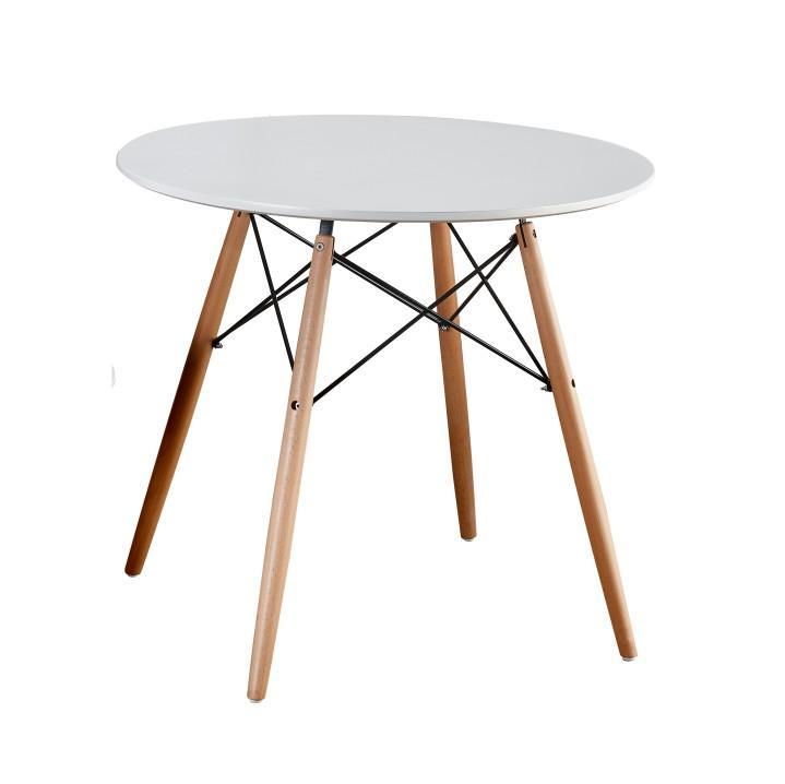 TEMPO KONDELA Jedálenský stôl, biela/buk, GAMIN NEW 90