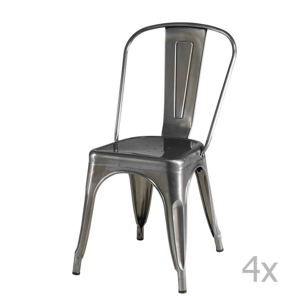 Sada 4 sivých stoličiek Knuds Korona