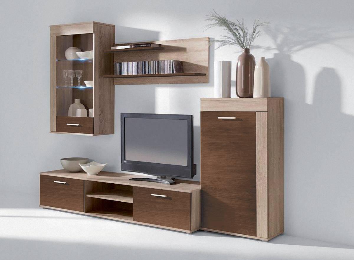 Lacná obývacia stena VIVO, sonoma/wenge
