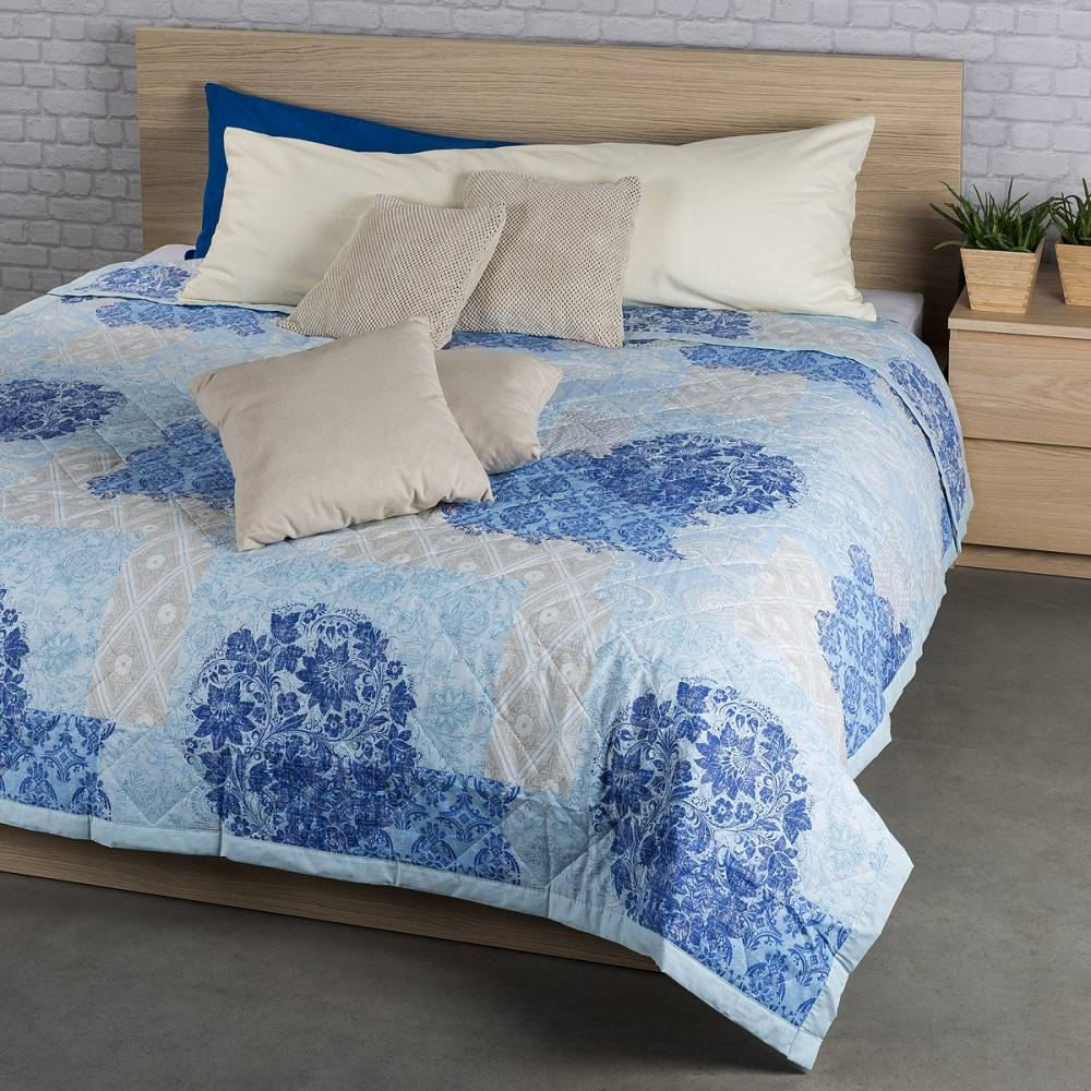 Prehoz na posteľ Ottorino modrá, 240 x 200 cm