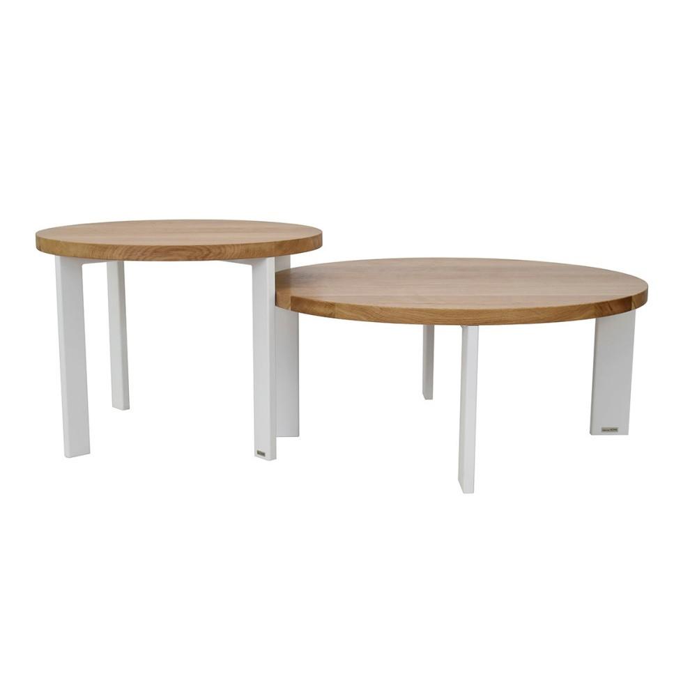 Sada 2 konferenčných stolíkov s doskou z dubového dreva Take Me HOME Kaskada