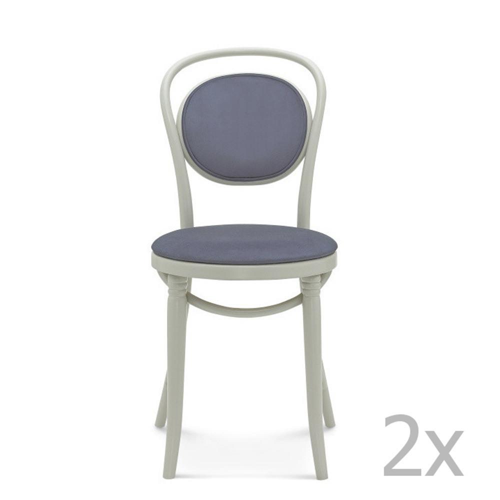 Sada 2 sivých drevených stoličiek s modrým čalúnením  Fameg Kelde
