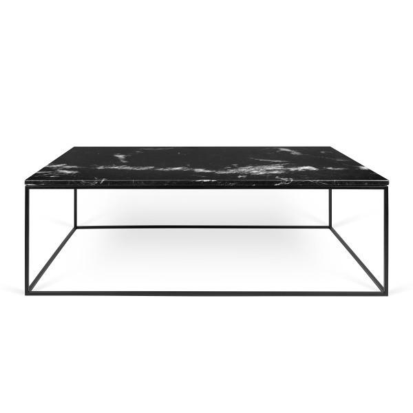 Čierny mramorový konferenčný stolík s čiernymi nohami TemaHome Gleam, 120cm