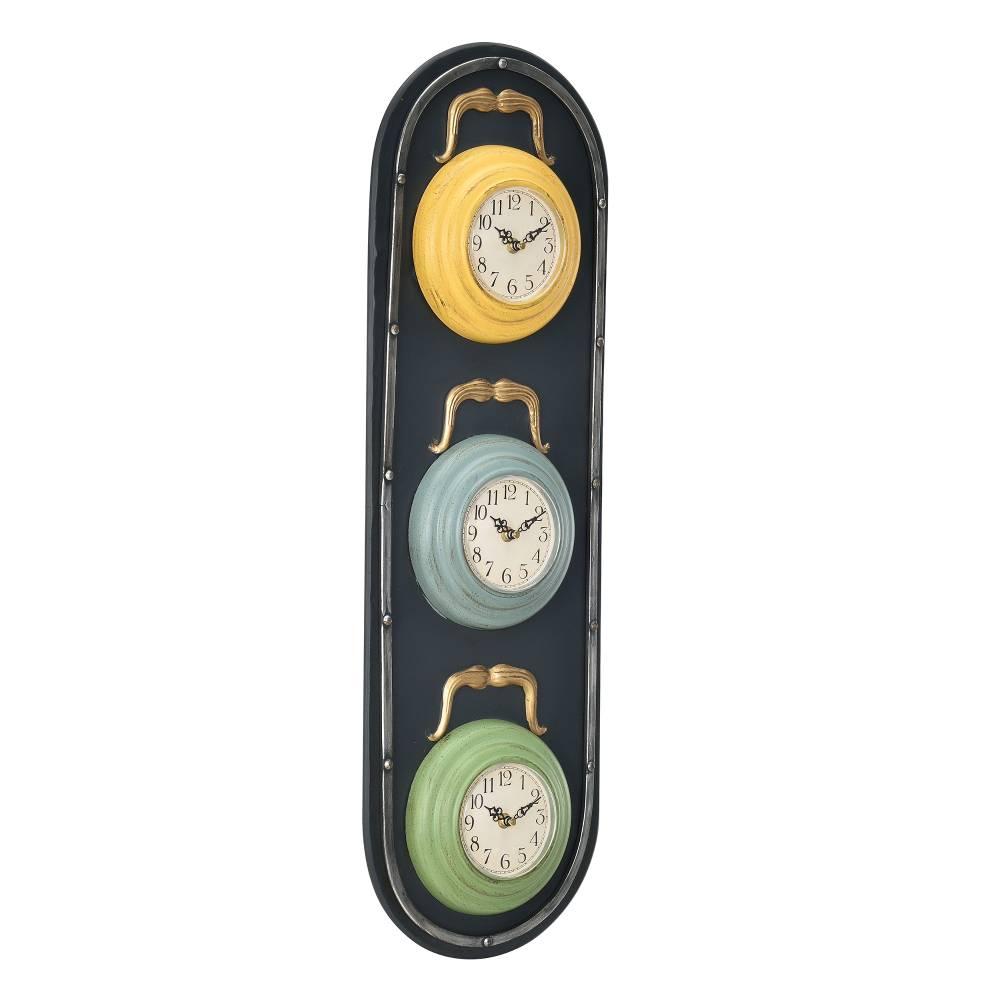 [en.casa]® Nástenné hodiny v tvare semafóra - analógové - 25 x 4,5 x 80 cm - farebné