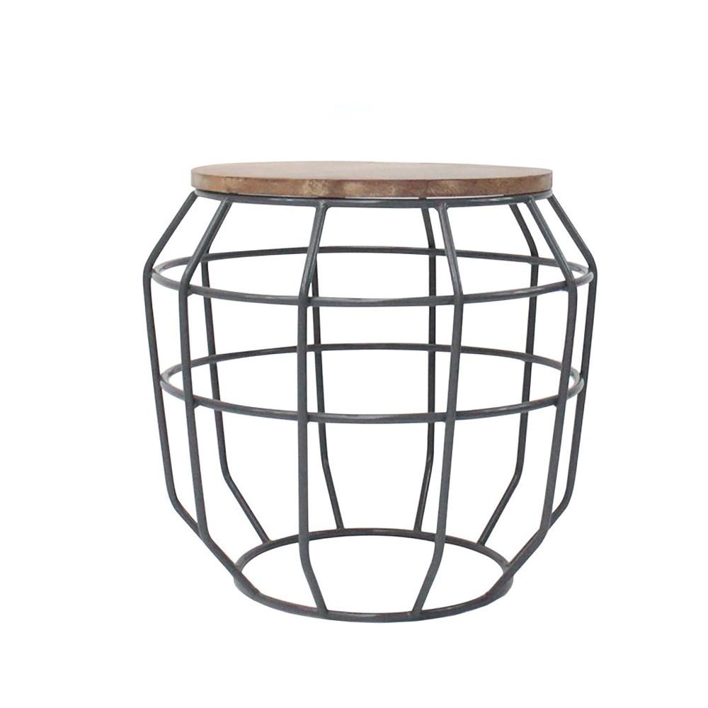 Tmavosivý príručný stolík s doskou z mangového dreva LABEL51 Pixel, Ø 51 cm