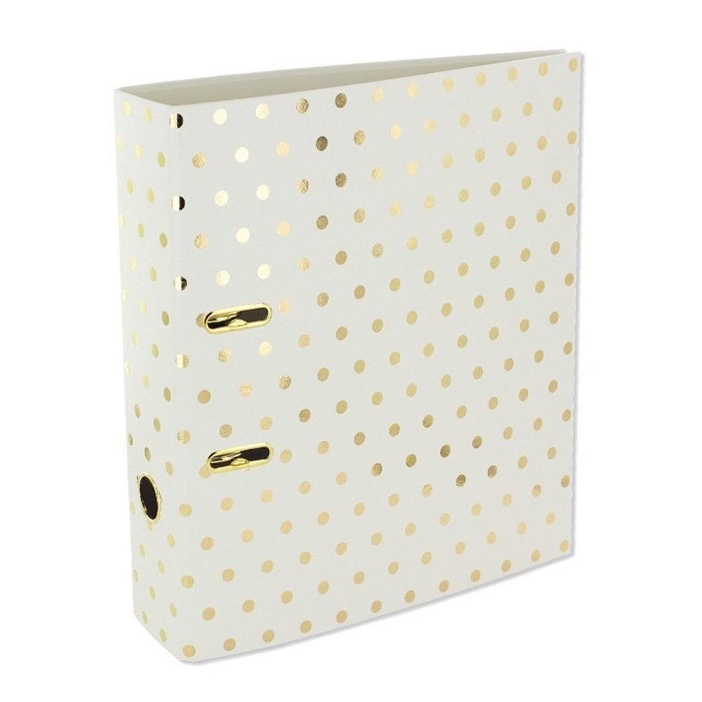 Dosky na dokumenty Go Stationery Gold Polka Shimmer Cream, velká
