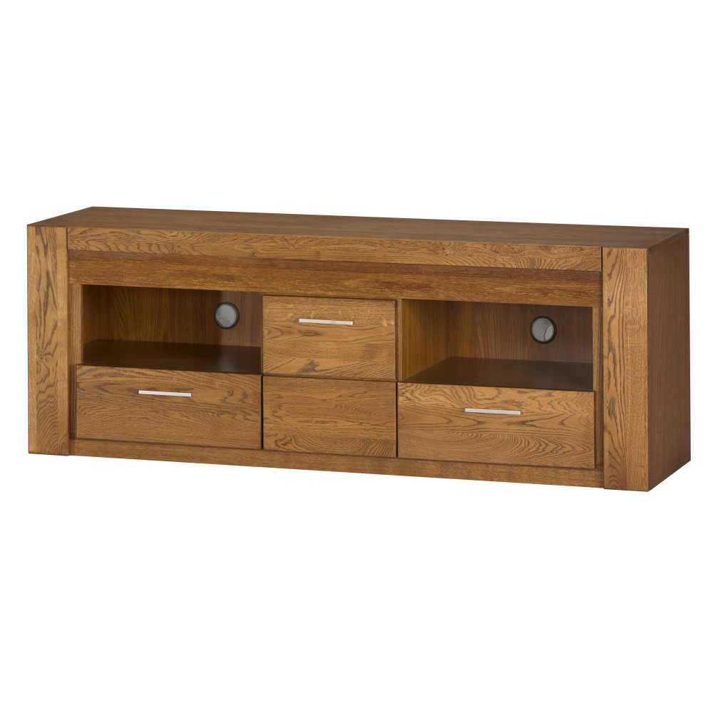 TV komoda z dubového dreva s dvierkami a 2 zásuvkami Szynaka Meble Velvet