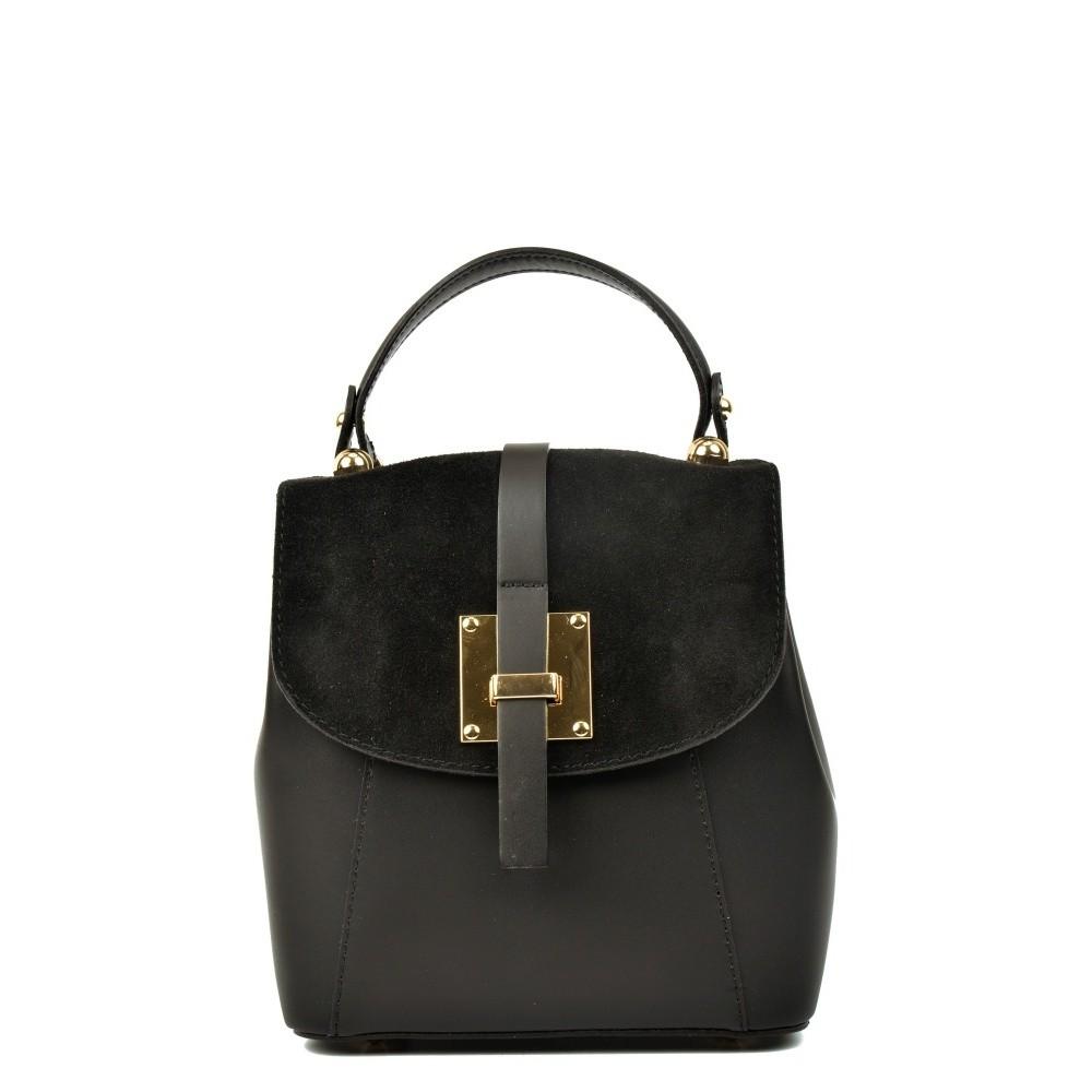 Čierny kožený batoh Carla Ferreri Hagana