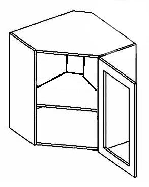 WR60W CZ P/L horná rohová vitrína - číre sklo, vhodná ku kuchyni PREMIUM