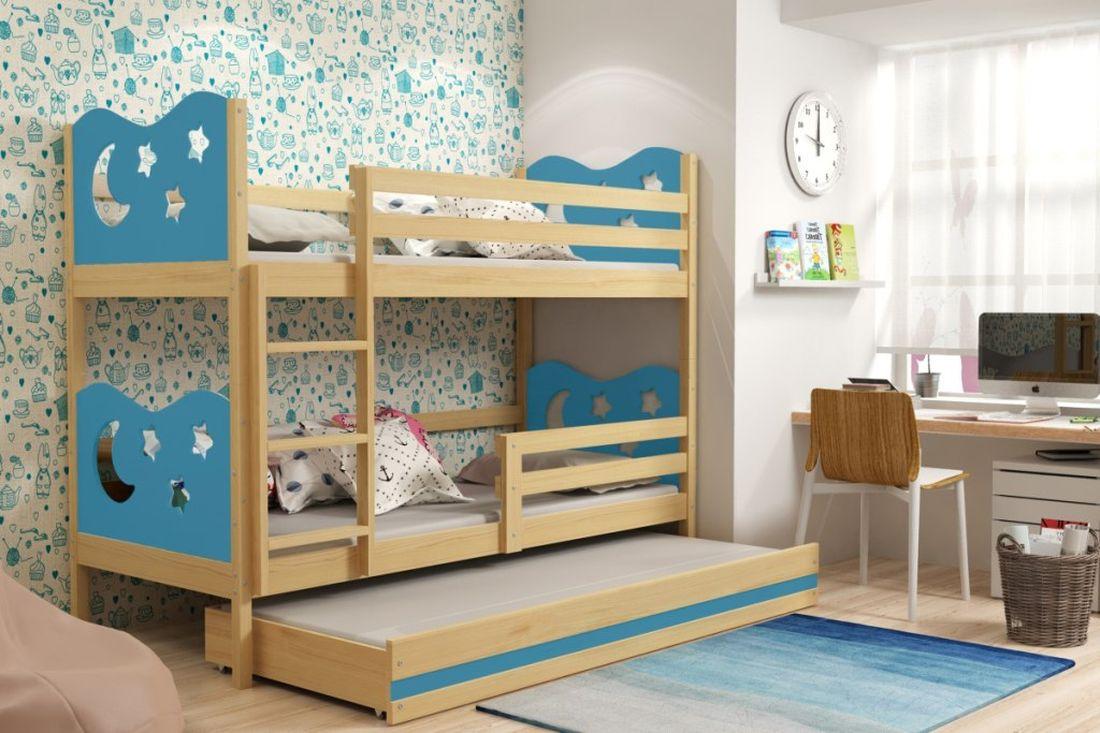 Poschodová posteľ KAMIL 3 + matrac + rošt ZADARMO, 90x200, borovica/blankytná