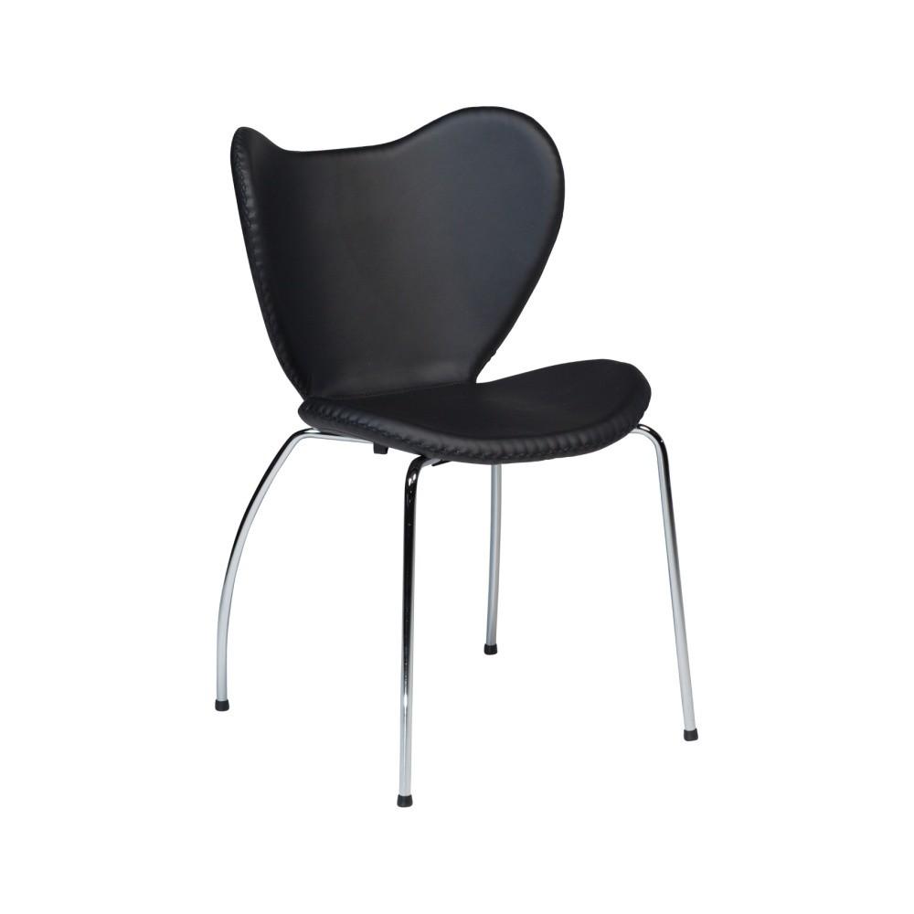 Čierna jedálenská stolička s pochrómovanou podnožou DAN–FORM Butterfly
