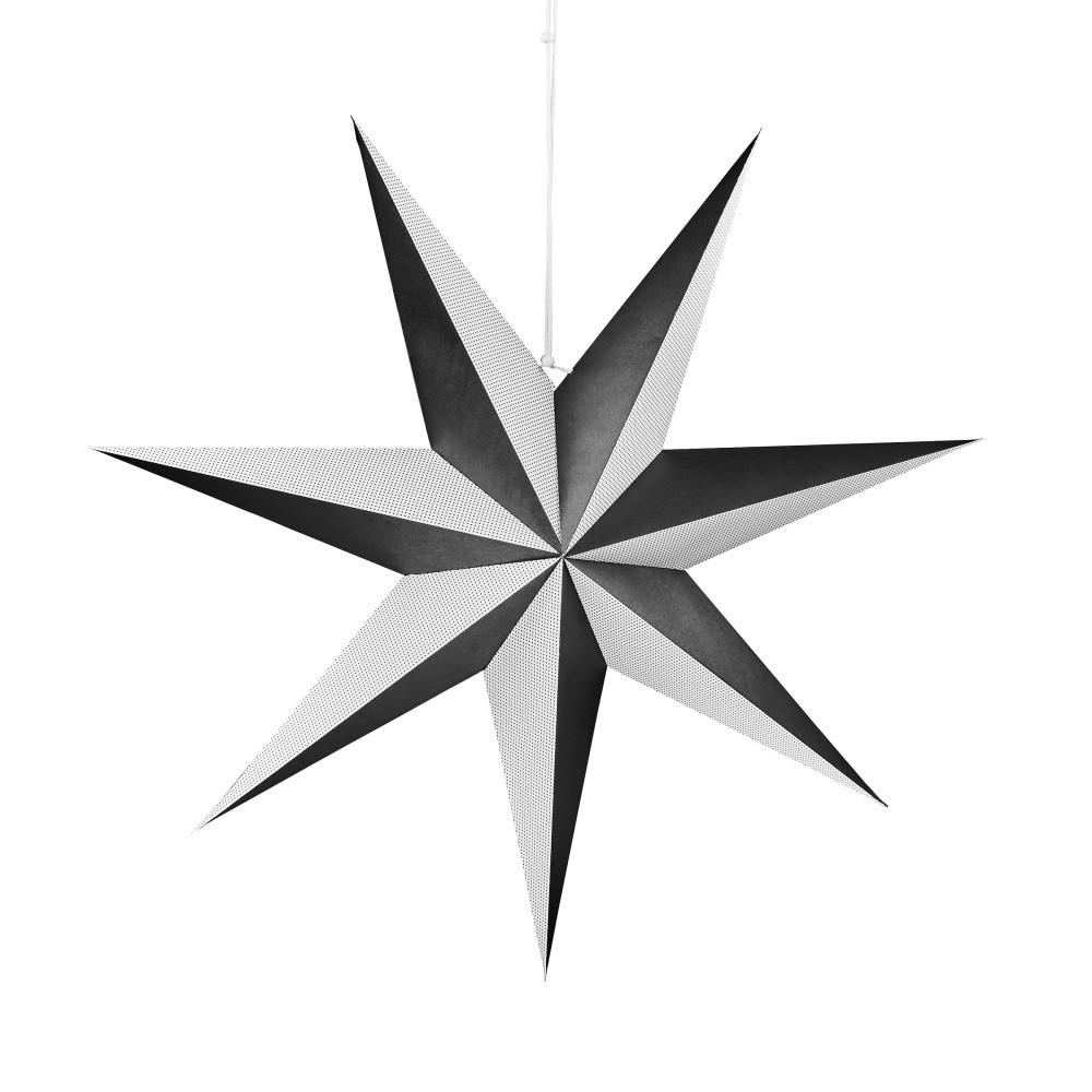Čiernobiela papierová dekoratívna hviezda Butlers Magica, ⌀ 60 cm
