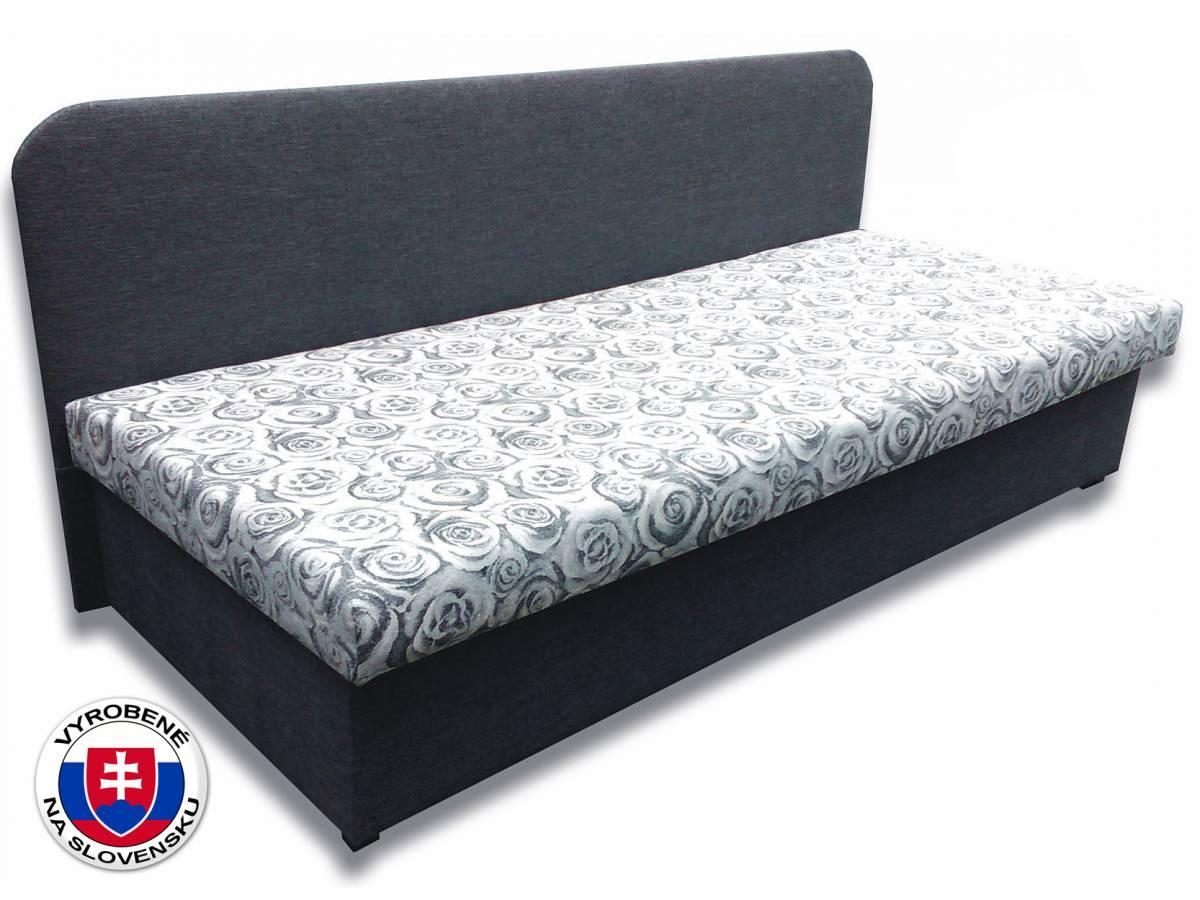 Jednolôžková posteľ (váľanda) 80 cm Lux IV (Sivá 81 + Elite 04 šedé ruže)