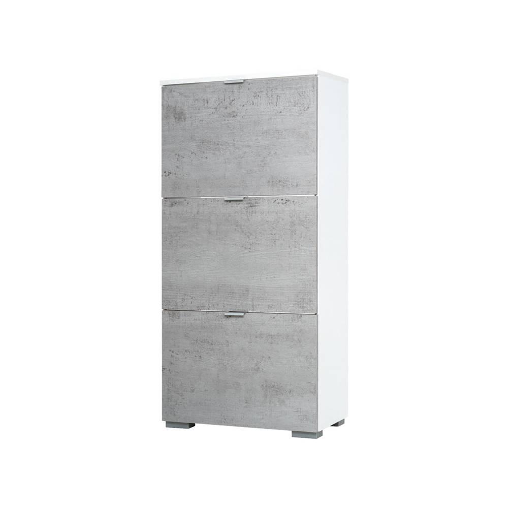 Botník GRAZ 3 výklopy biela/svetlý betón
