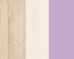 Policová skriňa BEST 06 / breza / biela LINEA   Farba: breza/biela/fialová