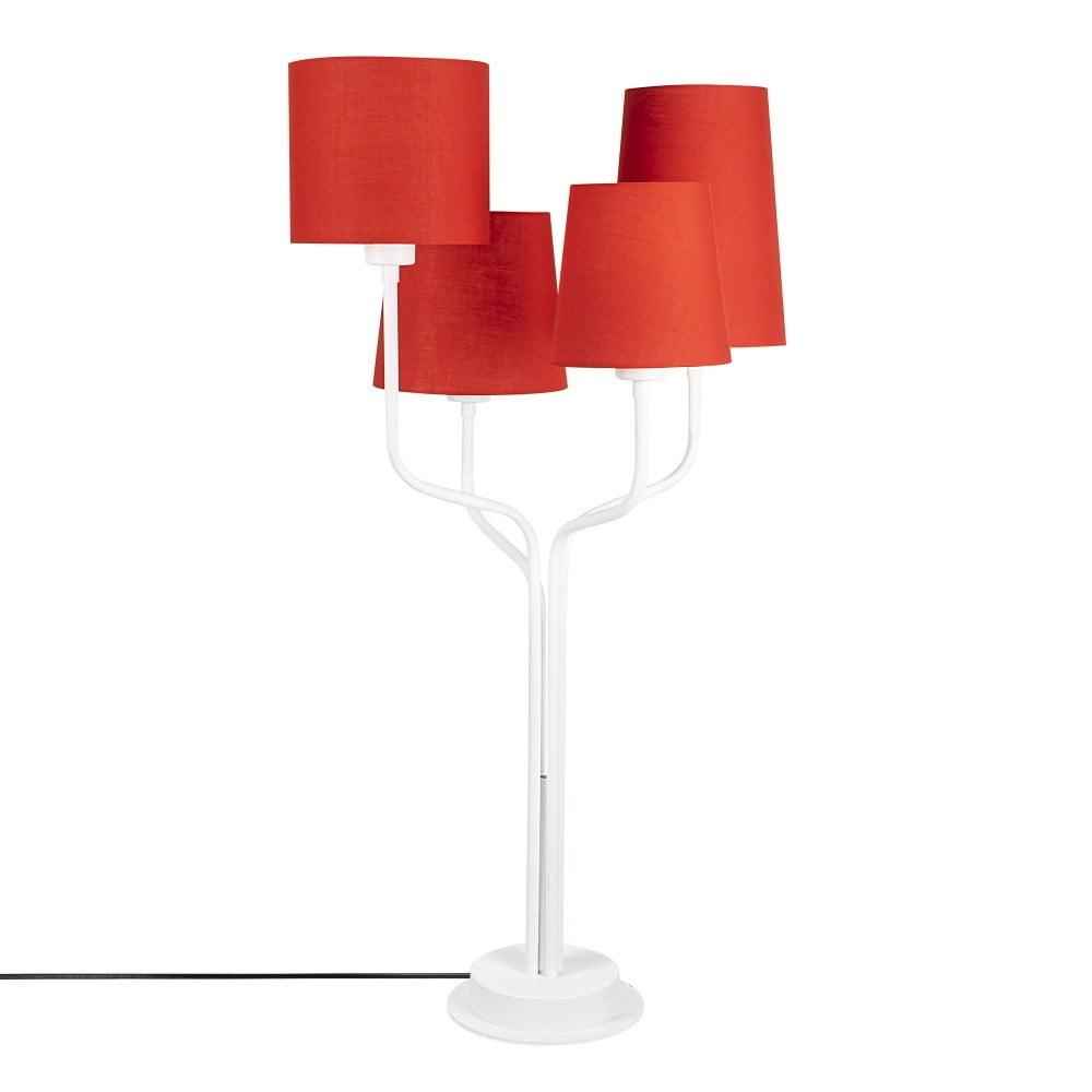 Biela kovová stolová lampa s červenými tienidlami Opviq lights Aposto