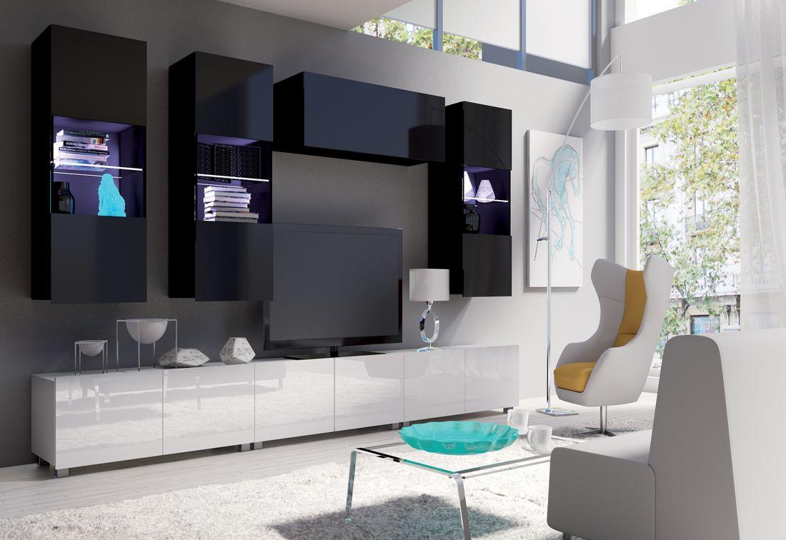 Obývacia zostava BRINICA NR11, čierna/čierny lesk + biela/biely lesk + biely LED