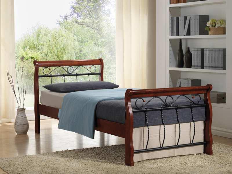 BENÁTKY BIS posteľ 90x200 cm, antická čerešňa/čierna