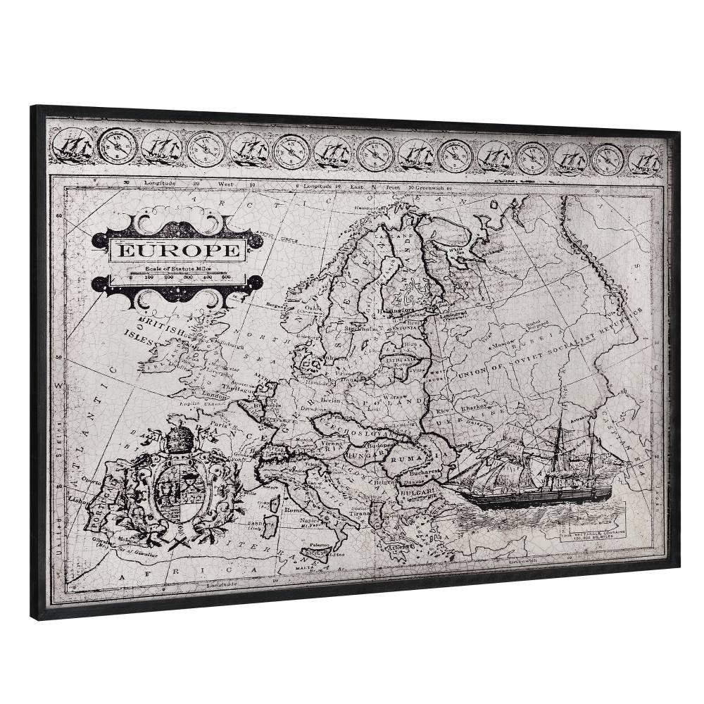 [art.work]® Dizajnový obraz na stenu - hliníková doska - mapa Európy - zarámovaný - 80x120x3,8 cm