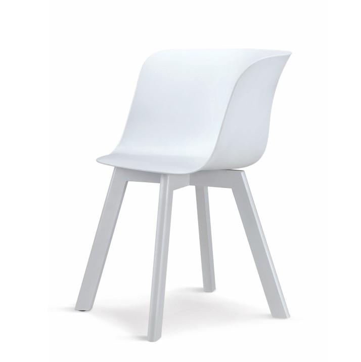 Stolička, plast+drevo buk, biela+biela, LEVIN