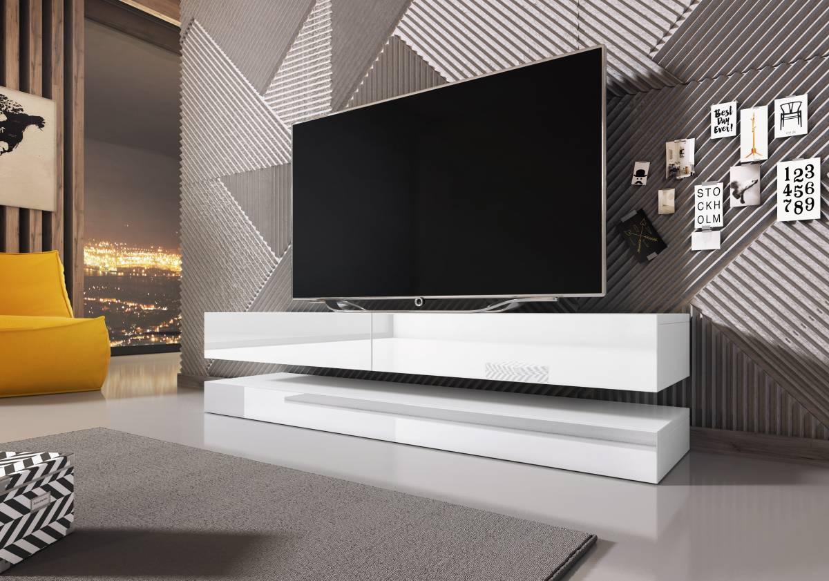 TV stolík Fly (biely lesk + biela matná)
