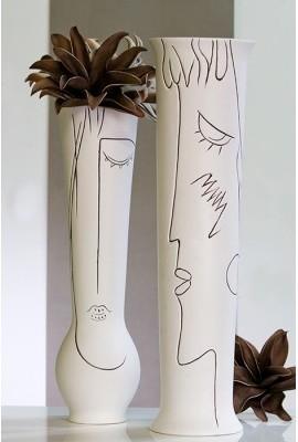 Váza ART - krémová/biela