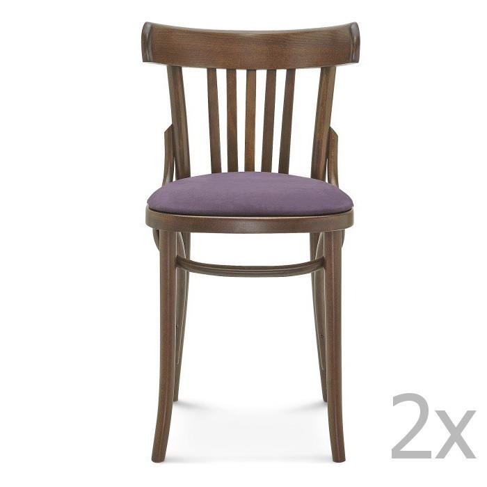 Sada 2 drevených stoličiek s fialovým čalúnením Fameg Mathias