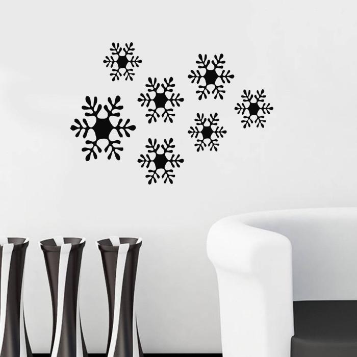 Samolepka na stenu  Snowflakes, 49x34 cm