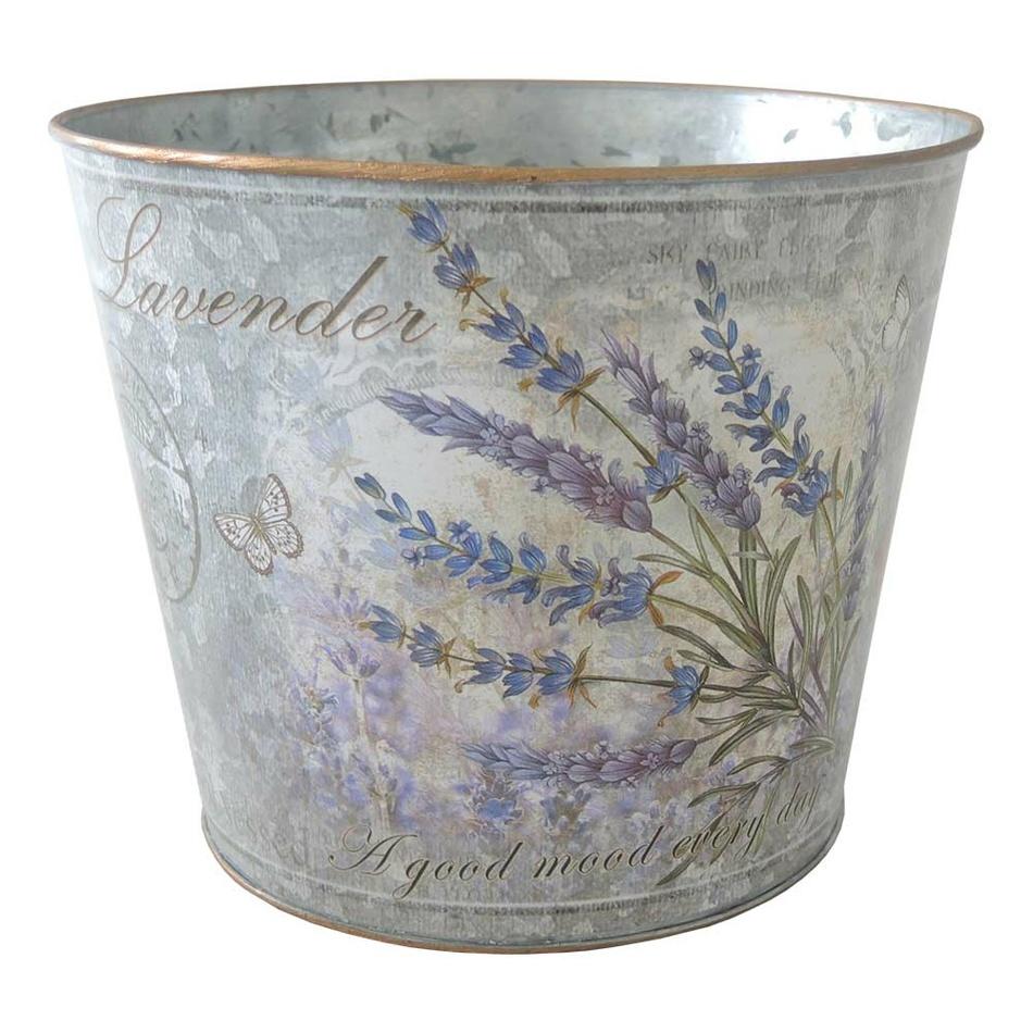 Plechový kvetináč Lavender, 18 x 15 cm