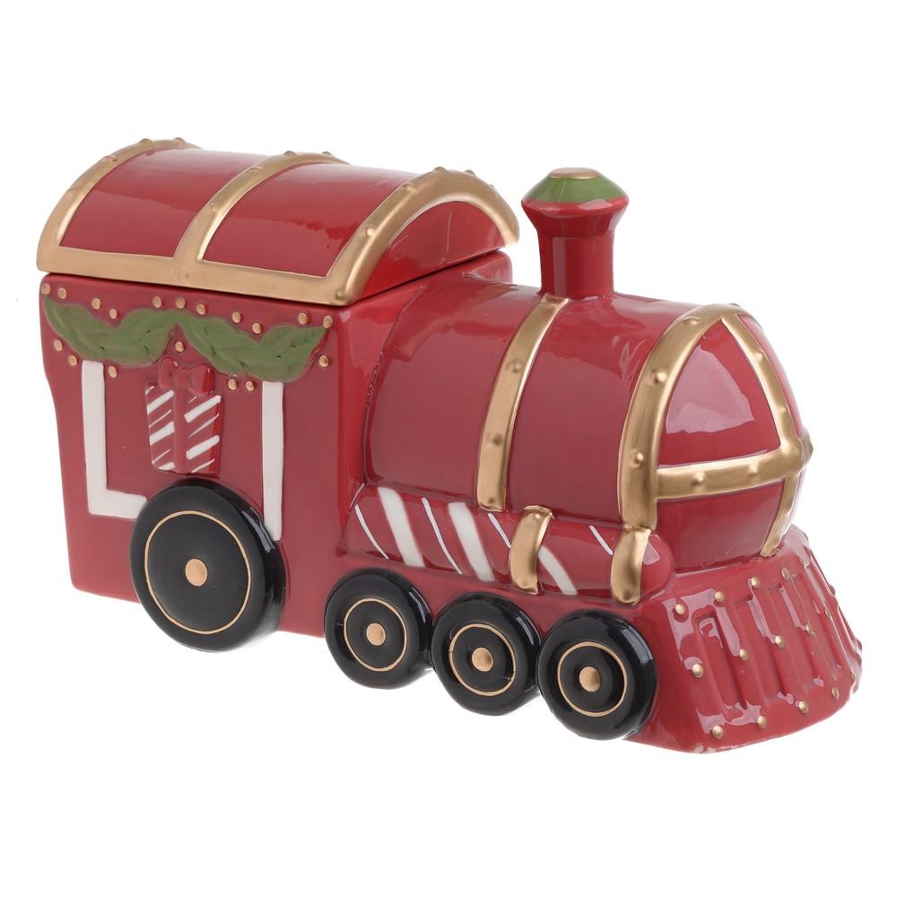 Vianočná keramická dóza na sušienky s vekom InArt Train