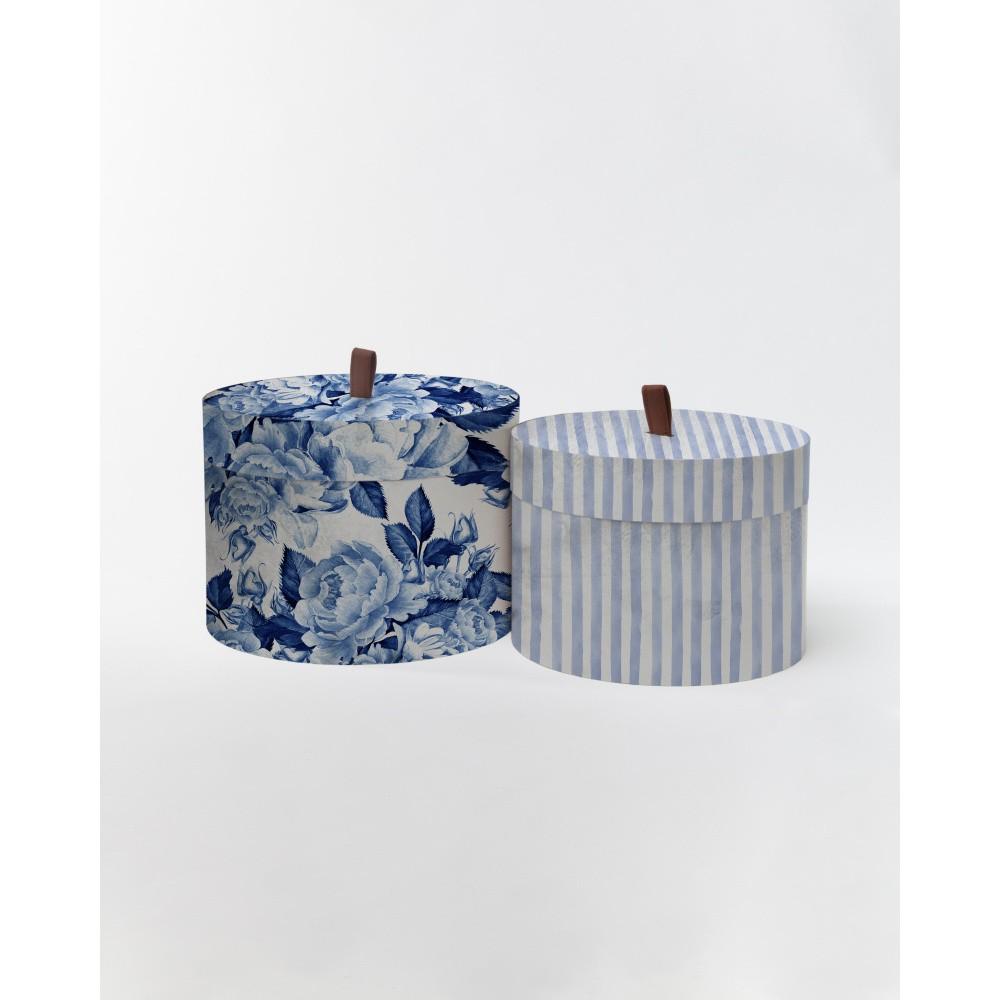 Sada 2 okrúhlych úložných boxu zo zamatu Velvet Atelier Flowerina