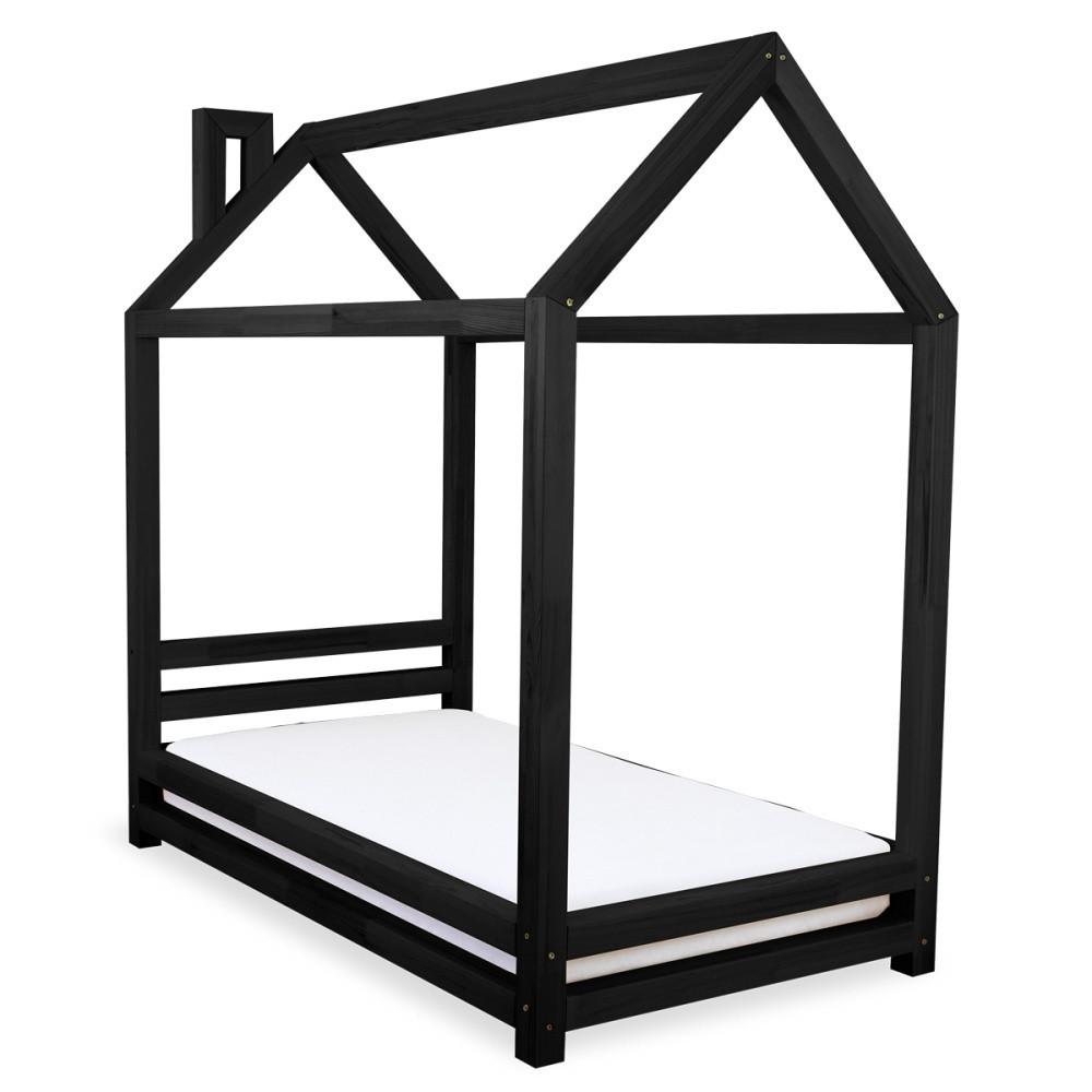 Detská čierna posteľ zborovicového dreva Benlemi Happy, 80x160cm