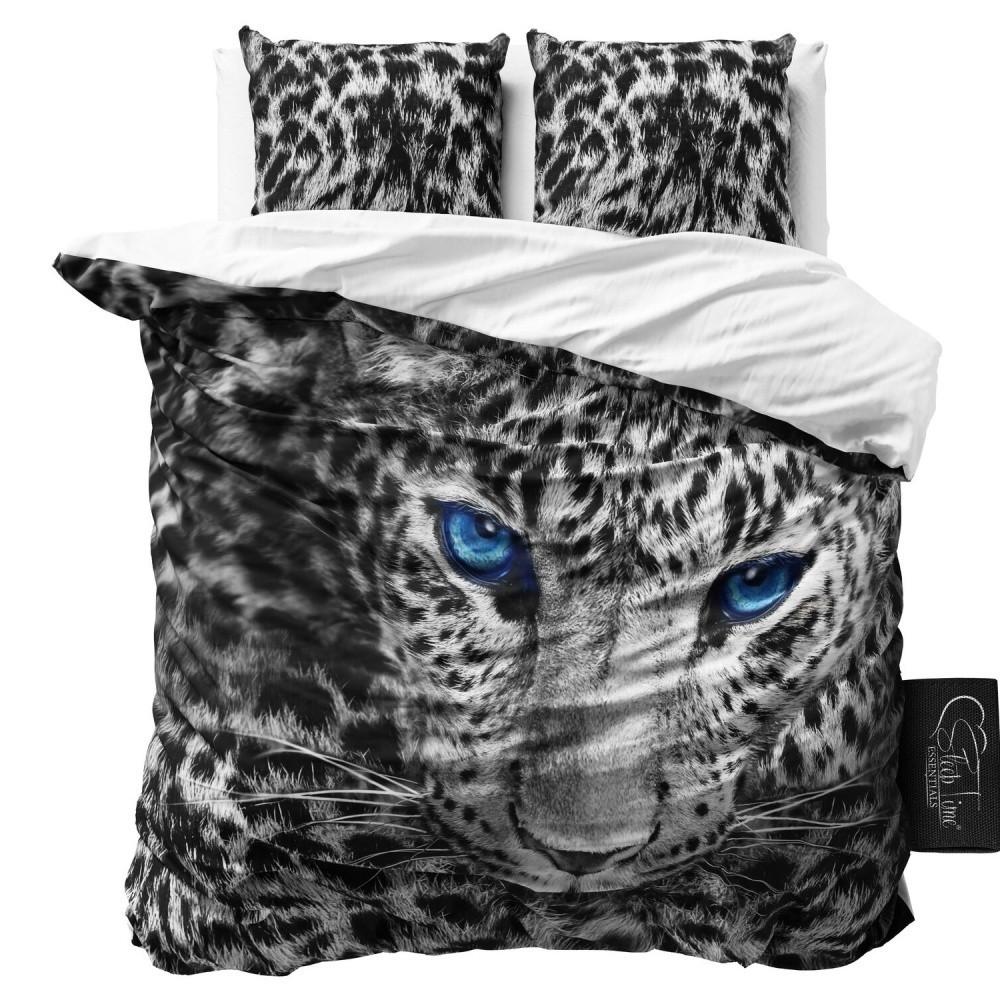 Sivé obliečky z mikroperkálu Sleeptime Cheetah, 160 x 200 cm