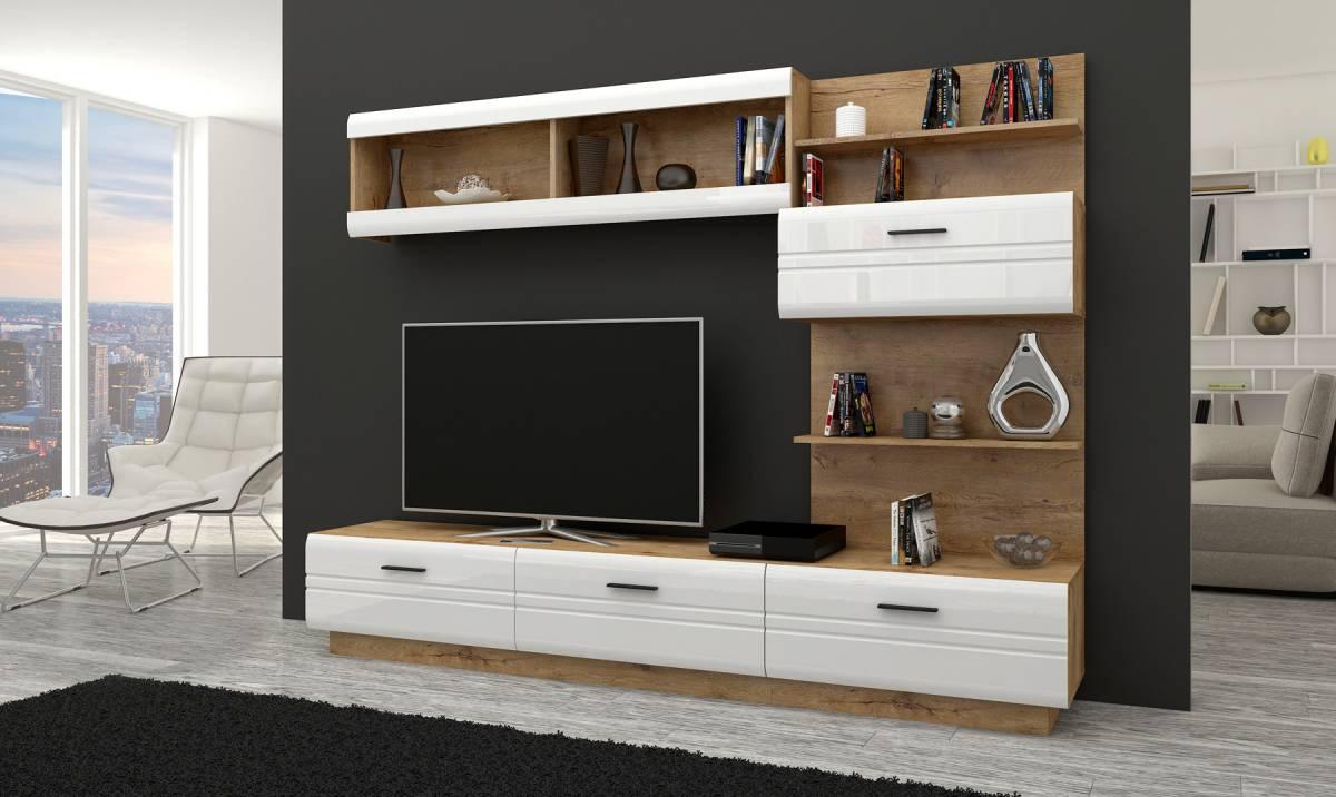 Dizajnová obývacia stena AKSEL, biely lesk/dub lefkas