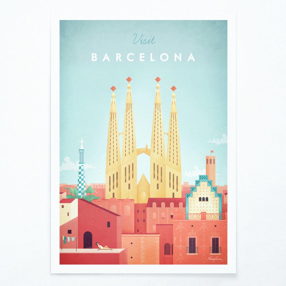 Plagát Travelposter Barcelona, A3