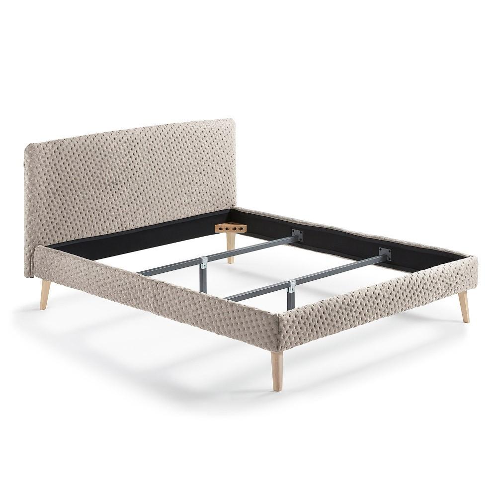 Béžová dvojlôžková čalúnená posteľ La Forma Lydia Dotted, 190×150cm