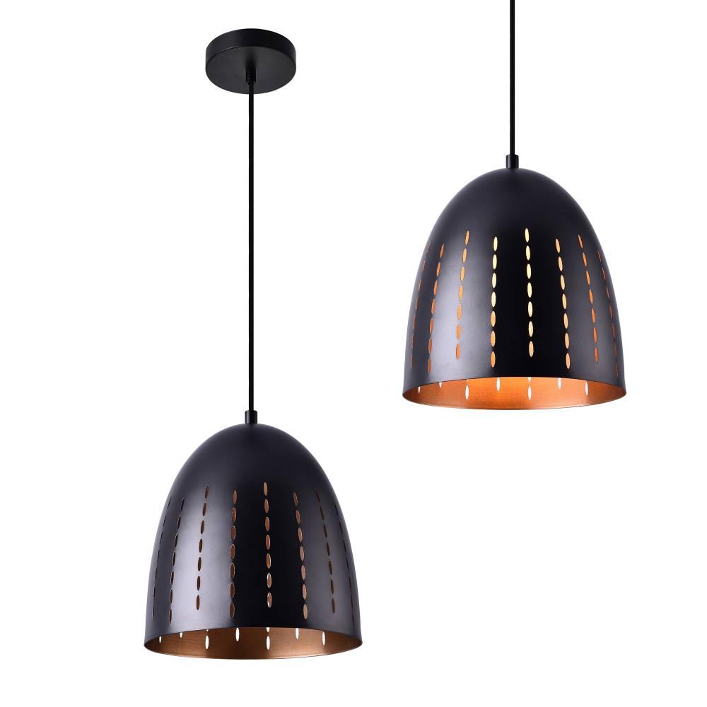 [lux.pro]® Dekoratívna dizajnová design závesná lampa / stropná lampa - čierna / meď (1 x E27)