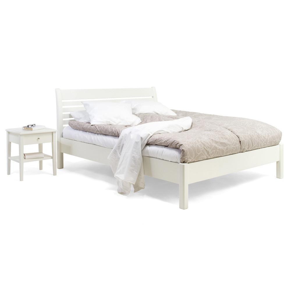 Biela ručne vyrobená posteľ z masívneho brezového dreva KiteenAnniina, 180 x 200 cm